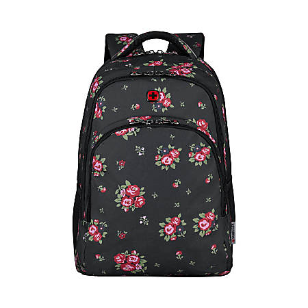 "Wenger® Upload Backpack With 16"" Laptop Pocket, Black Floral"