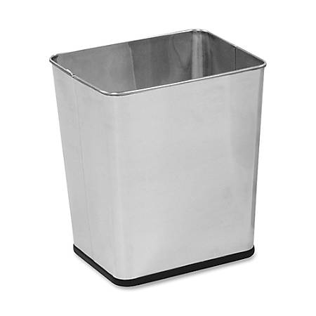 """United Receptacle 30% Recycled Stainless Steel Wastebasket, 15 1/2""""H x 13 1/2""""W x 11""""D, 7.25-Gallon Capacity, Silver"""