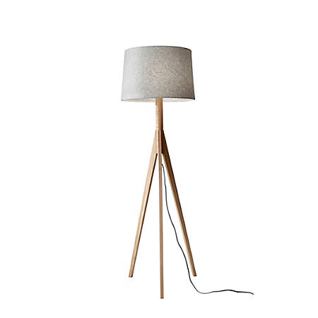 "Adesso® Eden Floor Lamp, 59 1/4""H, Gray Shade/Natural Ash Base"