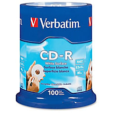 Verbatim 52X CD R Discs With
