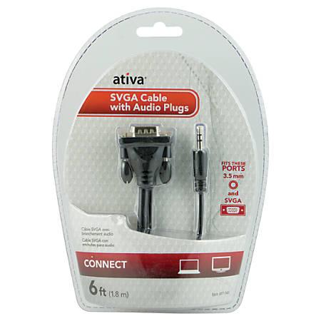 Ativa® 6' VGA/SVGA Video Cable Plus Audio, Black