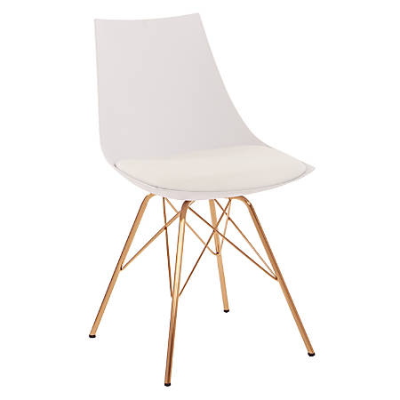 Ave Six Oakley Chair, White/Gold Chrome