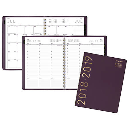 "AT-A-GLANCE® Contemporary Weekly/Monthly Academic Appointment Book/Planner, 8 1/4"" x 10 7/8"", 30% Recycled, Purple, July 2018 to June 2019"