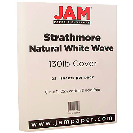 """JAM Paper® Cover Card Stock, 8 1/2"""" x 11"""", 130 Lb, Strathmore Natural White Laid, Pack Of 25 Sheets"""