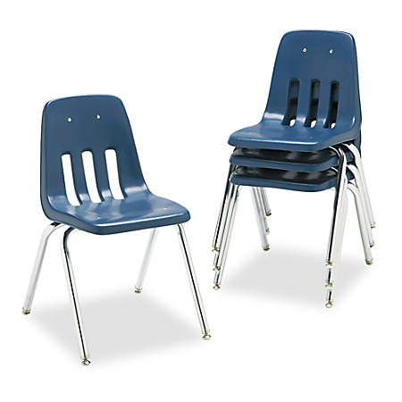 """Virco® 9000-Series Plastic Stack Chairs, 30 5/8""""H x 18 5/8""""W x 21 1/2""""D, Navy/Chrome, Pack Of 4"""