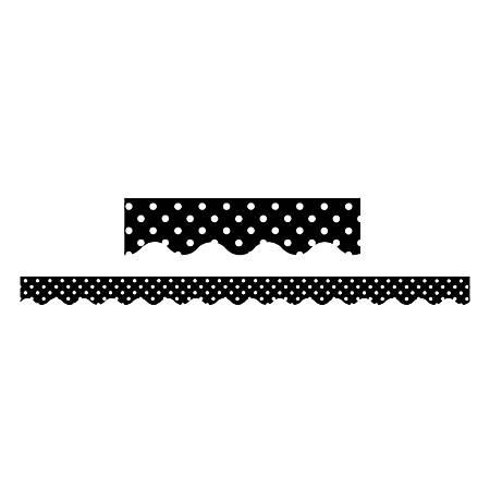 "Teacher Created Resources Border Trim, 2 3/16"" x 35"", Black Mini Polka Dots, Pre-K - College, Pack Of 12"