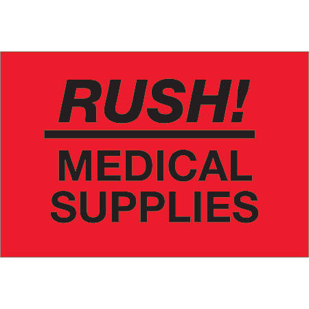 """Tape Logic® Preprinted Shipping Labels, DL1335, Rush ? Medical Supplies, Rectangle, 2"""" x 3"""", Fluorescent Red, Roll Of 500"""
