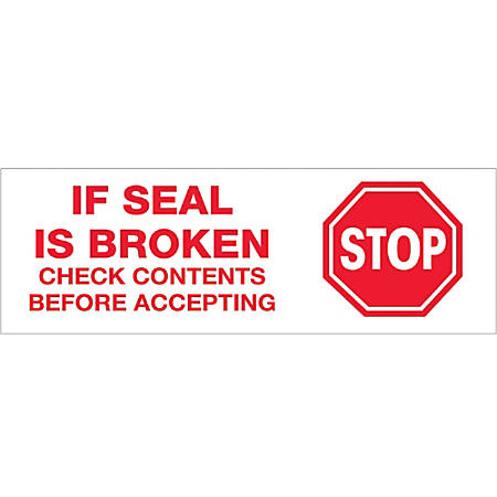 "Tape Logic® Stop If Seal Is Broken Preprinted Carton-Sealing Tape, 3"" Core, 2"" x 55 Yd., Red/White, Case Of 18"