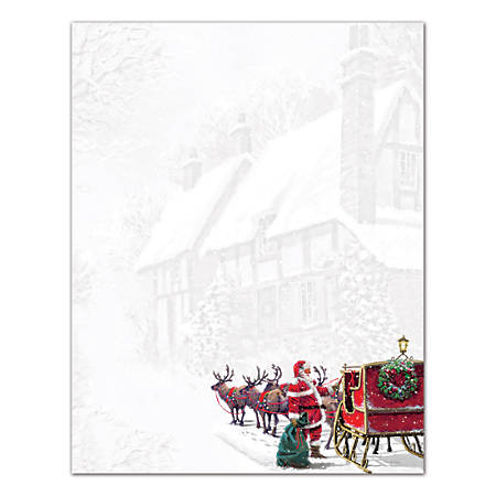 """Great Papers!® Holiday-Themed Letterhead Paper, 8 1/2"""" x 11"""", Santa's Sleigh, Pack Of 80 Sheets"""
