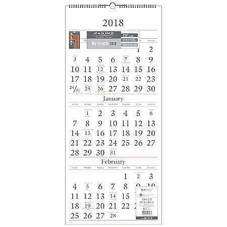 at a glance 14 month reference wall calendar 12 x 27 white december
