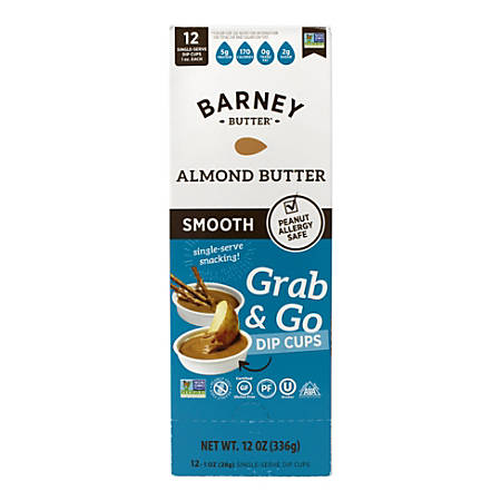 Barney Butter Almond Butter Grab & Go Dip Cups, 1 Oz, Box Of 12 Cups