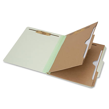 "SKILCRAFT® 6-Part 2"" Prong Expandable Classification Folders, Legal Size, 30% Recycled, Light Green, Box Of 10"
