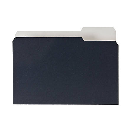 Pendaflex Earthwise 2-tone 1/3 Cut File Folders - 1/3 Tab Cut - Assorted Position Tab Location - 11 pt. Folder Thickness - Black, White - Recycled - 50 / Pack