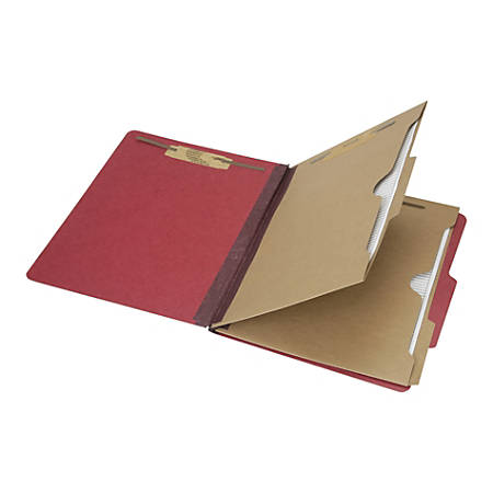 "SKILCRAFT® 6-Part 2"" Prong Expandable Classification Folders, Letter Size, 30% Recycled, Dark Red, Box Of 10 (AbilityOne 7530-01-600-6972)"