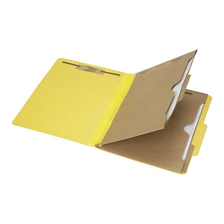 "SKILCRAFT® 6-Part 2"" Prong Expandable Classification Folders, Letter Size, 30% Recycled, Yellow, Box Of 10 (AbilityOne 7530-01-600-6975)"