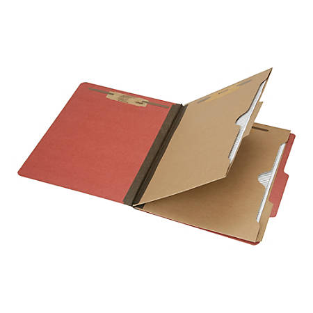 """SKILCRAFT® 6-Part 2"""" Prong Expandable Classification Folders, Letter Size, 30% Recycled, Earth Red, Box Of 10 (AbilityOne 7530-01-600-6979)"""