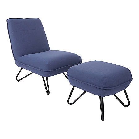 Ave Six Cortina Chair With Ottoman, Navy/Gray