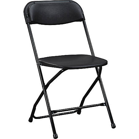 Lorell® Folding Chair, With X Style Base, Black