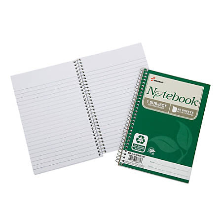 """SKILCRAFT® 100% Recycled Spiral Notebooks, 5"""" x 7 1/2"""", 1 Subject, College Ruled, 80 Sheets, Green, Pack Of 6 (AbilityOne 7530-01-600-2013)"""