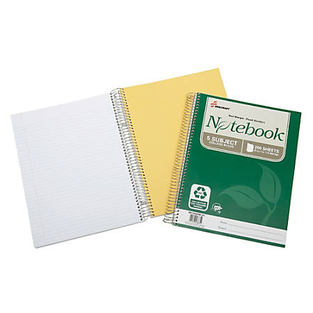 "SKILCRAFT® 100% Recycled Spiral Notebooks, 8 1/2"" x 11"", 5 Subjects, College Ruled, 200 Sheets, Green (AbilityOne 7530-01-600-2015)"