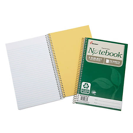 """SKILCRAFT® 100% Recycled Spiral Notebooks, 6"""" x 9 1/2"""", 3 Subjects, College Ruled, 150 Sheets, Green, Pack Of 3 (AbilityOne 7530-01-600-2020)"""