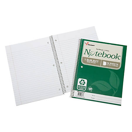 "SKILCRAFT® 100% Recycled Spiral Notebooks, 8"" x 10 1/2"", 1 Subject, Wide Ruled, 70 Sheets, Green, Pack Of 3 (AbilityOne 7530-01-600-2021)"