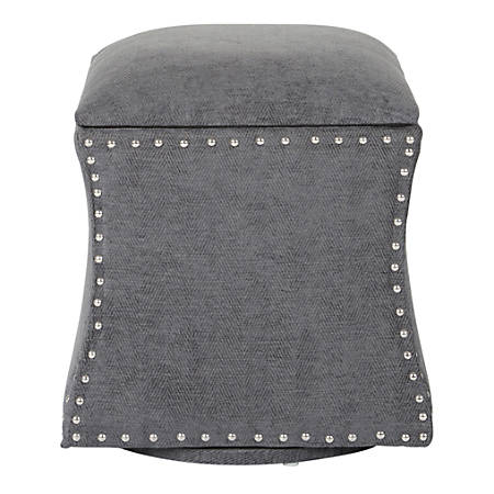 Ave Six St. James Swivel Ottoman, Charcoal/Silver