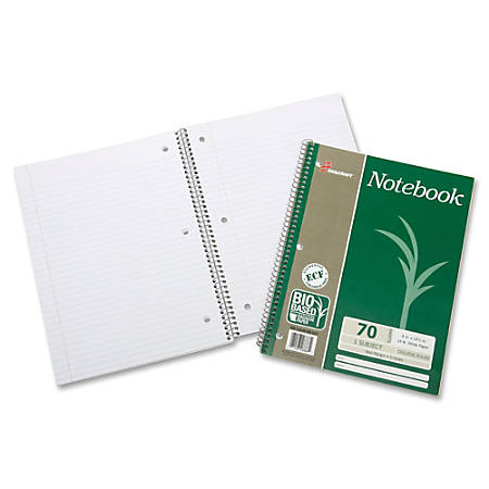 """SKILCRAFT® Wirebound Notebooks, 10 1/2"""" x 8"""", 1 Subject, College Ruled, 70 Sheets, Green, Pack Of 3 (AbilityOne 7530-01-600-2019)"""