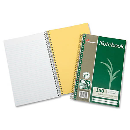 "SKILCRAFT® Wirebound Notebooks, 9 1/2"" x 6"", 3 Subjects, College Ruled, 150 Sheets, Green, Pack Of 3 (AbilityOne 7530-01-600-2023)"