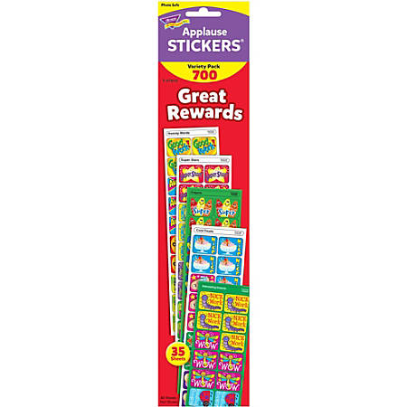 Trend Great Rewards Applause Stickers Variety Pack - 700 - Acid-free, Non-toxic - Multicolor - 1 / Pack