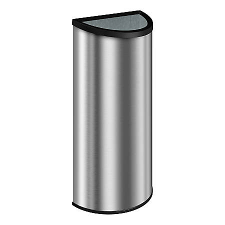 """Suncast Commercial Accent Series Decorative Crescent Metal Trash Can, 12 Gallons, 32-3/4""""H x 16-7/16""""W x 8-7/16""""D, Black/Stainless Steel"""