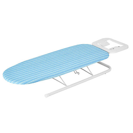 "Honey-Can-Do Tabletop Ironing Board With Iron Rest, 6""H x 12""W x 12""D, Aqua Blue/White"