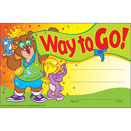 """Trend Way to Go Colorful Recognition Awards - 8.50"""" x 5.50"""" - Multicolor1 Pack"""