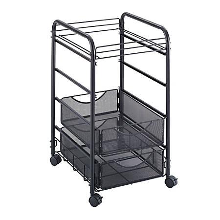 """Safco® Onyx Mesh Cart, 27""""H x 15 3/4""""W x 17""""D, Black"""