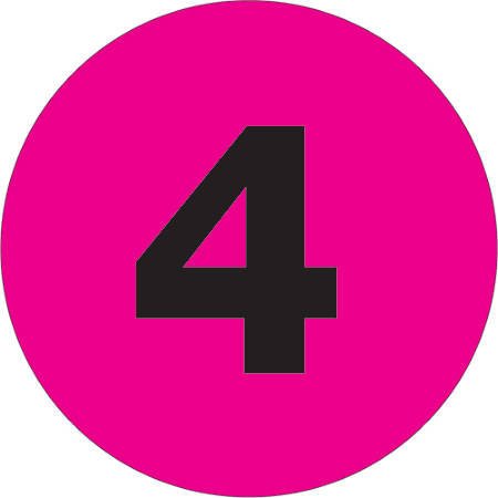"Tape Logic® Permanent Inventory Labels, DL1361, Number 4, Round, 4"", Fluorescent Pink, Roll Of 500"