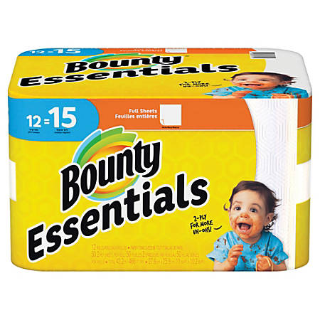 "Bounty Essentials 2-Ply Paper Towels, 11"" x 10-1/4"", White, 50 Sheets Per Roll, Pack Of 12 Rolls"