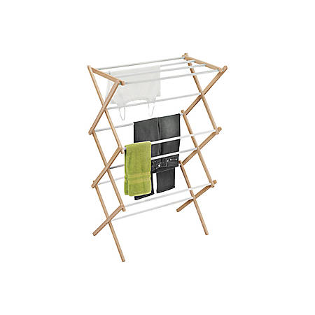 "Honey-can-do Accordion Drying Rack - 42.1"" Height x 14.2"" Width29"" Length - Floor - White, Natural Rod, Frame - Wood - 1 / Pack"