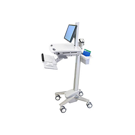 Ergotron StyleView Medical Cart - 1 Drawer - 35 lb Capacity - 4 Casters - Aluminum, Plastic, Zinc Plated Steel - Polished Aluminum, Gray, White