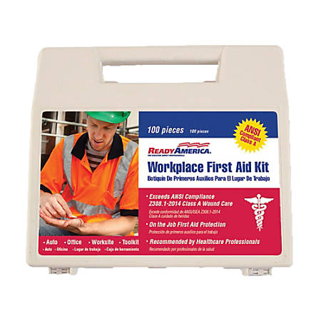 Ready America® 100-Piece Workplace First Aid Kit, White, 2-Pack