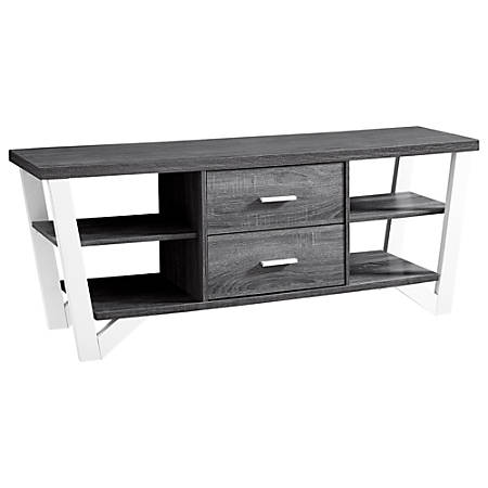 """Monarch Specialties TV Stand With 2 Storage Drawers For TVs Up To 60"""", Gray/White"""