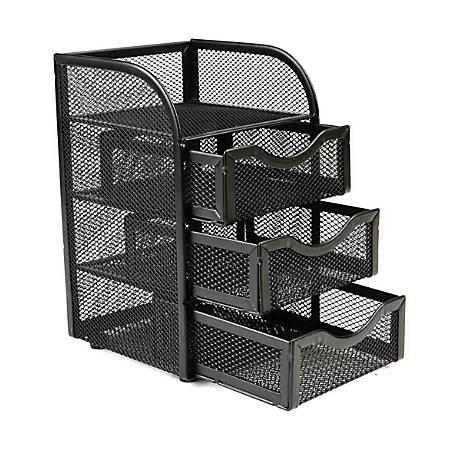 Mind Reader Mini 3-Drawer Office Supply Organizer, Black