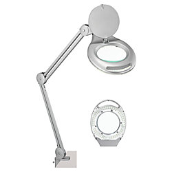 """Realspace® Clamp-On Magnifier Task Lamp, 24""""H, Silver"""
