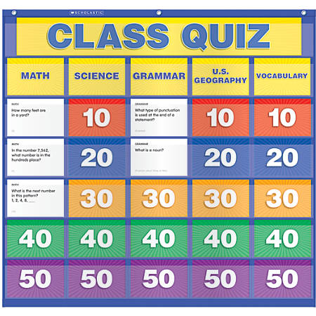 "Scholastic Teacher Resources Pocket Chart, Class Quiz, 33"" x 31"", Blue, Kindergarten to Grade 5"