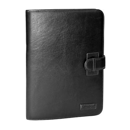 Samsonite® Leather Bi-Fold Writing Pad Holder, Black/Brown