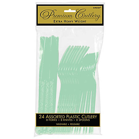 Amscan Premium Plastic Assorted Cutlery Packs, Cool Mint, 24 Pieces Per Pack, Set Of 5 Packs