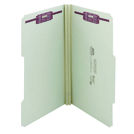 "Smead® Guide Height Pressboard Folders With SafeSHIELD® Fasteners, 2/5 Cut, Legal Size, 2"" Expansion, 60% Recycled, Gray/Green, Box Of 25"