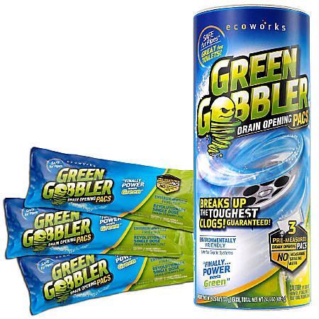 Green Gobbler Drain Opening Pacs, Unscented, 6.53 Oz Per Packet, 3 Packets Per Canister, Case Of 3 Canisters