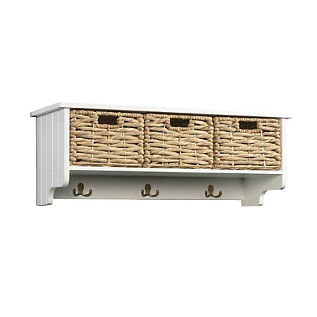 Sauder® Cottage Road Hanging Wall Cabinet With Wicker Baskets, 1 Fixed Shelf, White
