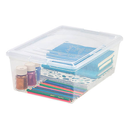 Office Depot® Brand Clear Plastic Storage Boxes, 13.5 Qt, Pack Of 2