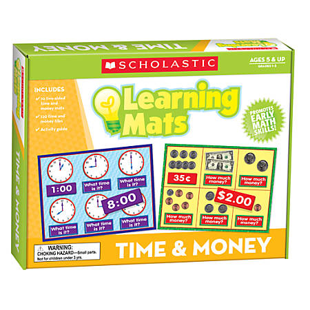 "Scholastic Teacher's Friend Learning Mat Kit, Time And Money, 10"" x 7 1/2"", Grades K-2"